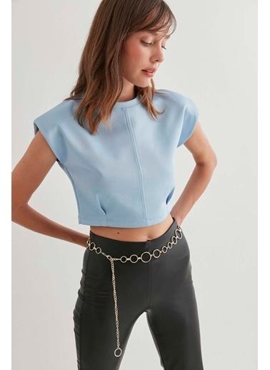 Vitrin Crop Bluz Mavi